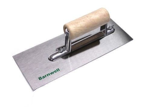 Barnwell Adhesive Trowel - 1.5mm Notched Blade with Wooden Handle
